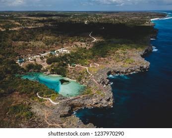 weekuri lagoon aerial southwest sumba