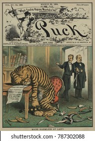 Weeping Tammany Tiger with the face of NYC Democratic Boss John Kelly. MADE HARMLESS AT LAST, PUCK Magazine March 1884 cover. Theodore Roosevelt and Grover Cleveland stand arm-in-arm, with TR holding