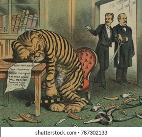 Weeping Tammany Tiger with the face of NYC Democratic Boss John Kelly. Theodore Roosevelt and Grover Cleveland stand arm-in-arm, with TR holding large scissors labeled Roosevelt Bill. On the floor are