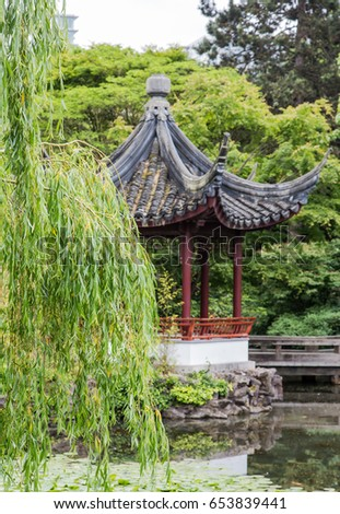 Weeping Willow Tree Pagoda Japanese Garden Stock Photo (Edit Now ...