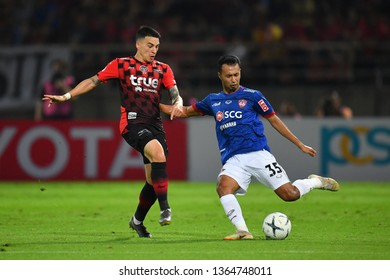 Weerawut Kayem no.35(Blue)of SCG Muangthong United in action during The Football Thai League between Bangkok United and SCG Muangthong United at True Stadium on March 02,2019 in Pathum Thani, Thailand