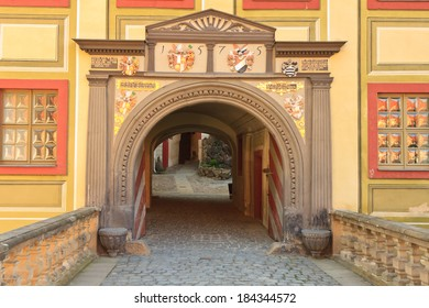 Weesenstein castle entrance near Dresden in the late afternoon light, Saxony, Germany