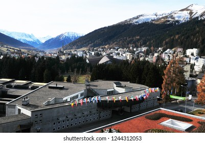 The WEF Congress-Center of Davos, Europe's highest city in the Swiss Alps