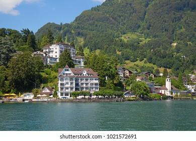 Weggis, Canton of Lucerne / Switzerland - July 03 2016: View of the picturesque old village Weggis. Weggis is popular recreational resort in the german speaking part of Switzerland.