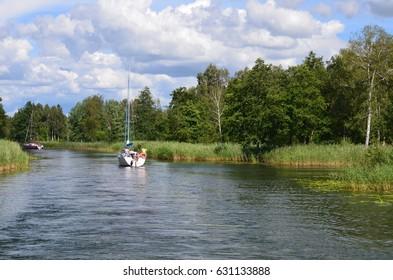 Wegorzewski Canal in summer, Masuria, Poland