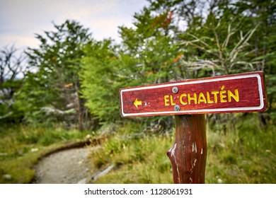 Wegweiser nach El Chalten.
