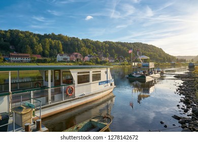 WEHLEN, GERMANY – OCTOBER 04, 2018: Ferry traffic on the Elbe near Wehlen in the Elbe Sandstone Mountains in the Saxon Switzerland