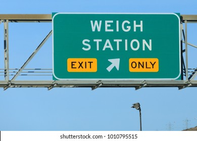 Weigh Station Exit Only Sign on the road