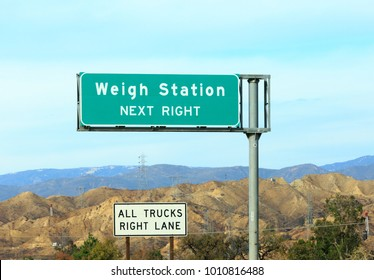 Weigh Station Next Right , All trucks right lane sign