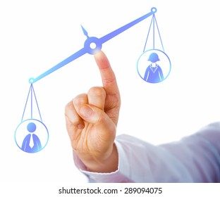 Weighing scale tilting towards a male white collar worker icon, thus favoring a male office worker over a female employee. Concept for career success, competition, gender gap and employment issues.