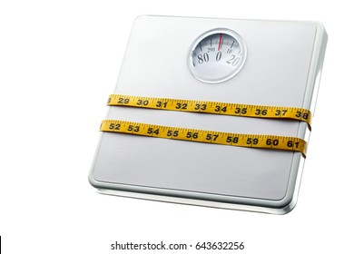 Weighing scale wrapped with measuring tape weight loss concept; isolated on white background