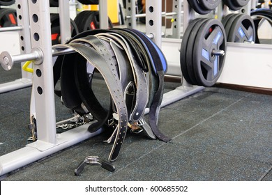 Weight belts in a fitness hall