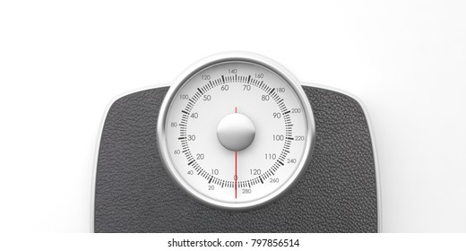 Weight control concept. Bathroom scale isolated on white background, top view. 3d illustration