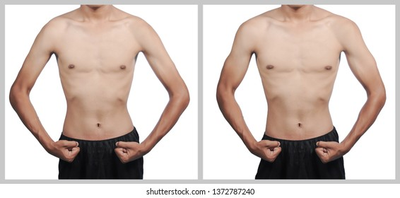 Weight loss before and after man with two body types: overweight and slim.