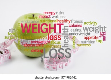 Weight Loss conceptual cloud text with fruits background.