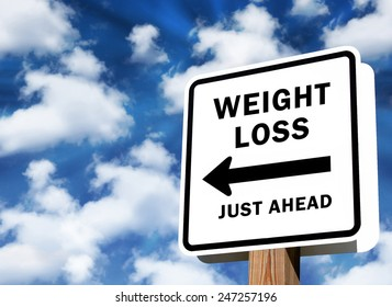 Weight Loss just ahead sign as business concept on a sky background