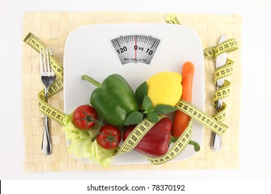 Weight loss scale. Diet concept