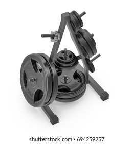 Weight Plate Tree on white. 3D illustration
