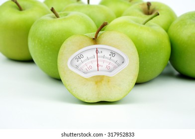 Weight scale made of green apple isolated on white background