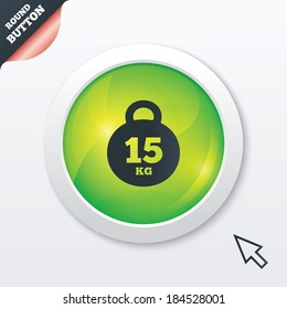 Weight sign icon. 15 kilogram (kg). Sport symbol. Fitness. Green shiny button. Modern UI website button with mouse cursor pointer.
