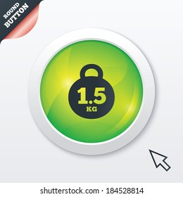 Weight sign icon. 1.5 kilogram (kg). Envelope mail weight. Green shiny button. Modern UI website button with mouse cursor pointer.