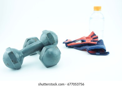 weight training by using dumbbells on white background