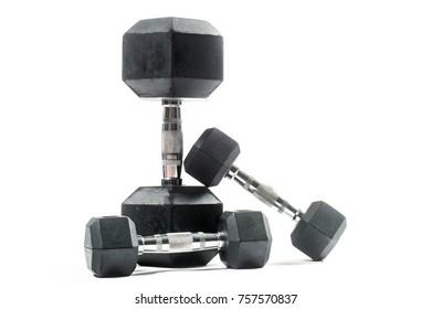 weight training equipment. Dumbbells, white background.