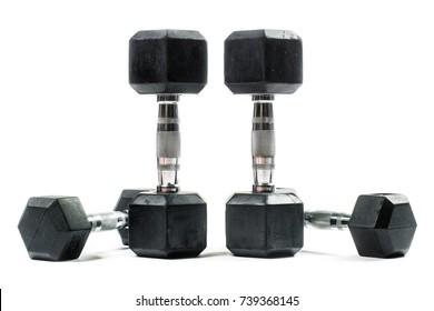 Weight training equipment isolated on white background. Dumbells.