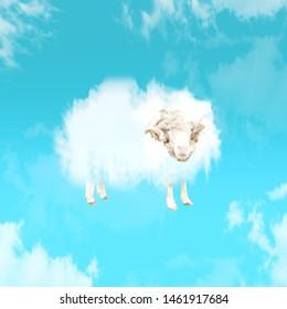 Weightless and nature. An alternative look of animals. Lamb as a cloud in blue sky. Negative space to insert your text. Modern design. Contemporary art. Creative conceptual and colorful collage.
