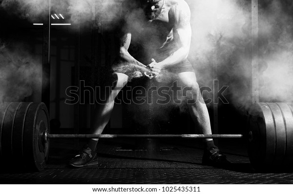 Weightlifter Clapping Hands Preparing Workout Gym Stock