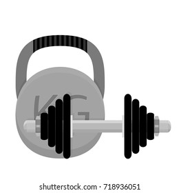 Weightlifting. Kettlebell and dumbbell. Workout equipment and training bodybuilding. illustration