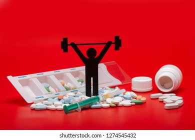 weightlifting pictogram with pills and red background