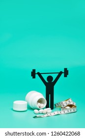 weightlifting pictogram with pills, tape measure and bright green background