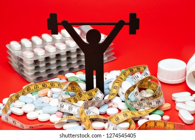 weightlifting pictogram with pills and tape measure, red background