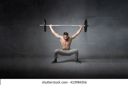 weights lifting for athlete, dark background