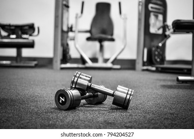 Weights On Floor Of Gym