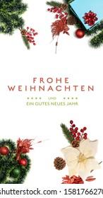 """Frohe Weihnachten und ein gutes neues Jahr"" t.i. Merry Christmas and Happy New Year in German language on a light background with decoration Smartphone Vertical orientation view for message app wish"