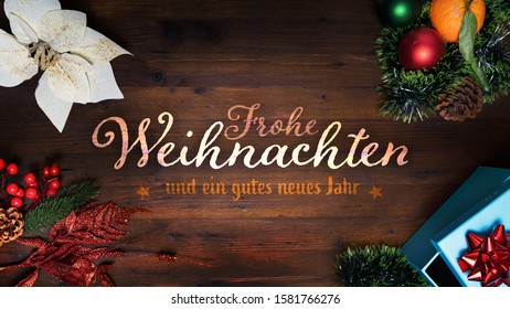 """""""Frohe Weihnachten und ein gutes neues Jahr"""" t.i. Merry Christmas and Happy New Year in German language on a wooden background with decoration horizontal view for social media, diary, website size"""