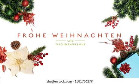 """""""Frohe Weihnachten und ein gutes neues Jahr"""" t.i. Merry Christmas and Happy New Year in German language on a light background with decoration social media, email and website splash or diary page size"""