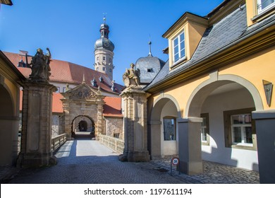 WEIKERSHEIM, GERMANY - OCTOBER 04  2018: The historic forecourt with the arcade buildings.