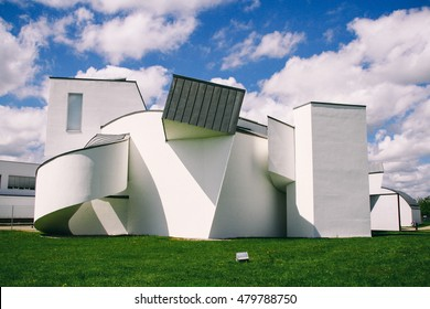 WEIL AM RHEIN, GERMANY - CIRCA AUGUST 2011: Exterior view of Vitra Design Museum, designed by architect Frank Gehry, inside the Vitra Campus in Weil am Rhein