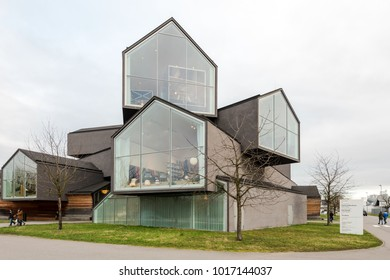Weil am Rhein, Germany - January 28, 2018: Vitra House designed by Herzog and de Meuron . The Vitra Design Museum is an internationally renowned, privately owned museum for design founded by furniture