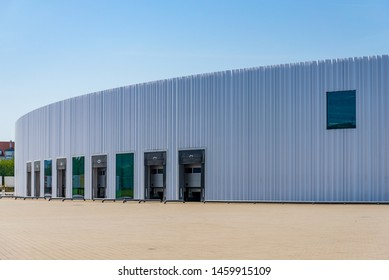 Weil am Rhein, Germany - JULY 2018: Factory Building Campus Architecture,  designed by famous Japanese architect SANAA, located in Vitra Campus, Swiss furniture manufacturer.