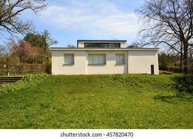 WEIMAR, GERMANY - APRIL 12, 2016. Haus am Horn historic building in Weimar, with grass lawn. Haus am Horn is the only truly Bauhaus building in Weimar.