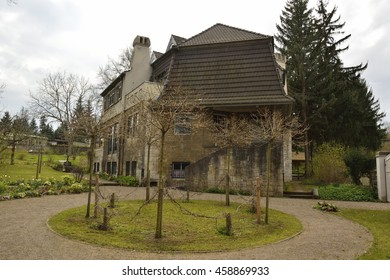 WEIMAR, GERMANY - APRIL 12, 2016. Haus Hohe Pappeln historic building in Weimar, with grass lawn and vegetation. Architect Henry van de Velde, lived in this building for nine years, starting in 1908.