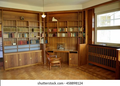 WEIMAR, GERMANY - APRIL 12, 2016. Work room at Haus Hohe Pappeln building in Weimar where Belgian art-nouveau architect Henry van de Velde lived with his family for nine years, starting in 1908.