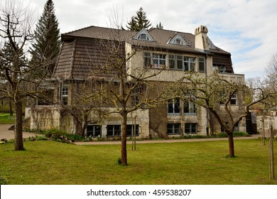 WEIMAR, GERMANY - APRIL 12, 2016. Haus Hohe Pappeln historic building in Weimar where Belgian art-nouveau architect, designer and painter, Henry van de Velde, lived  for nine years, starting in 1908.