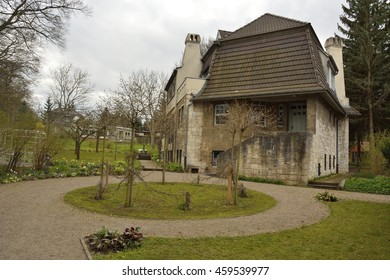 WEIMAR, GERMANY - APRIL 12, 2016. Haus Hohe Pappeln historic building in Weimar, where  Belgian art-nouveau architect, designer and painter, Henry van de Velde, lived for nine years, starting in 1908.