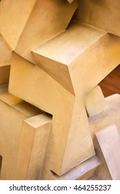 WEIMAR, GERMANY - APRIL 13, 2016. Detail of wooden geometrical structure at the Bauhaus Museum in Weimar.