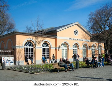 Weimar, Germany - April 7 2015: Bauhaus-Museum and people around. A museum dedicated to the architectural style of Bauhaus.